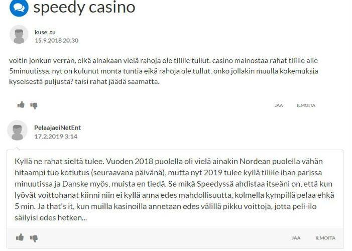 speedy casino kokemuksia suomi24