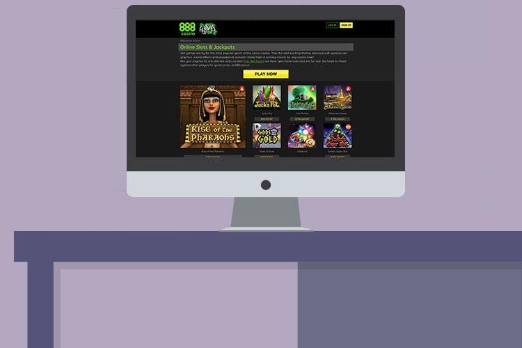 888casino's homepage lobby