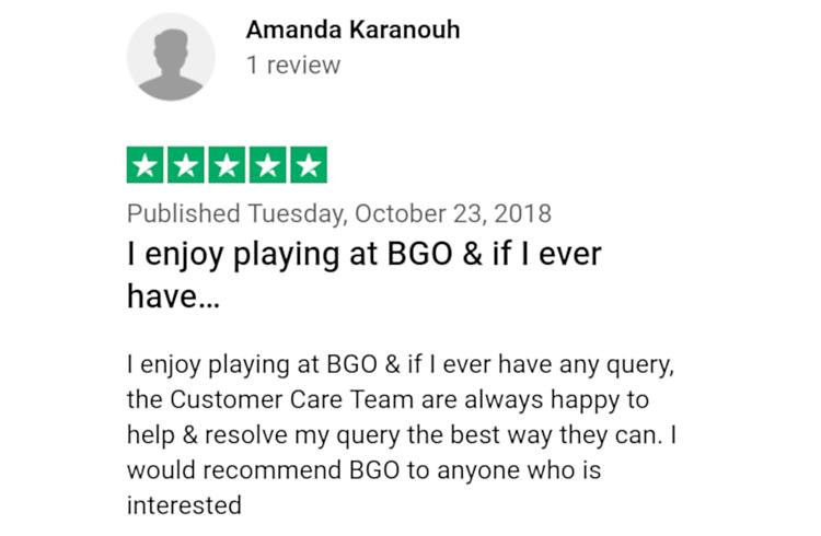 Trustpilot review of BGO customer support