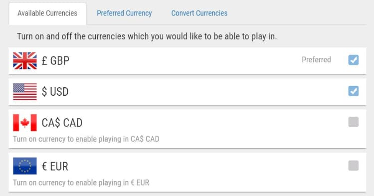 PokerStars Multi-Currency