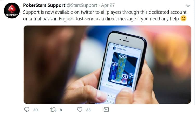 PokerStars support available on Twitter