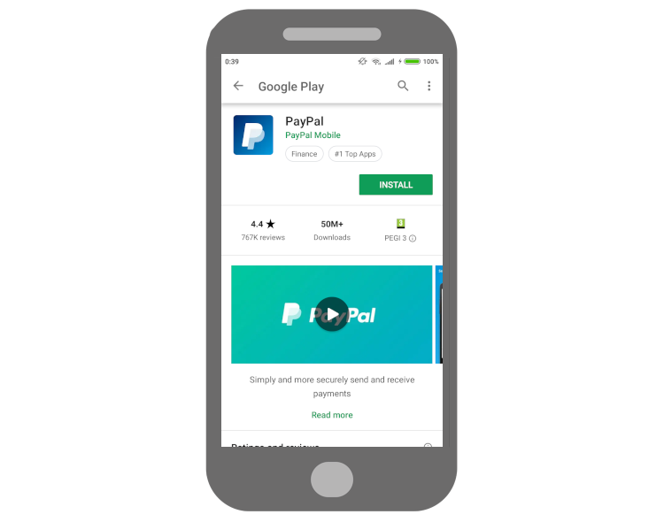 PayPal Android-Anwendung aus dem Google Play Store
