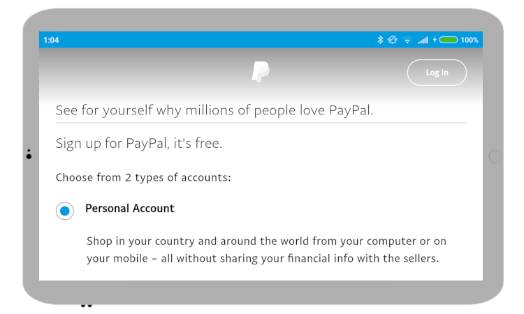 Create a free personal PayPal account