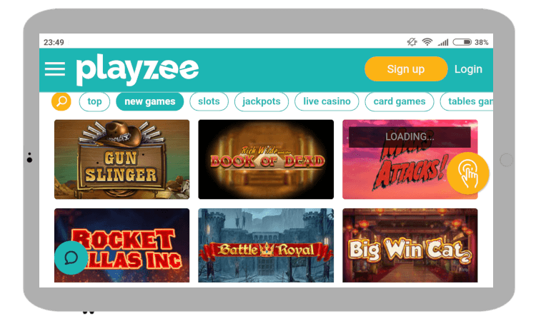 Games & slots at Playzee Casino mobile