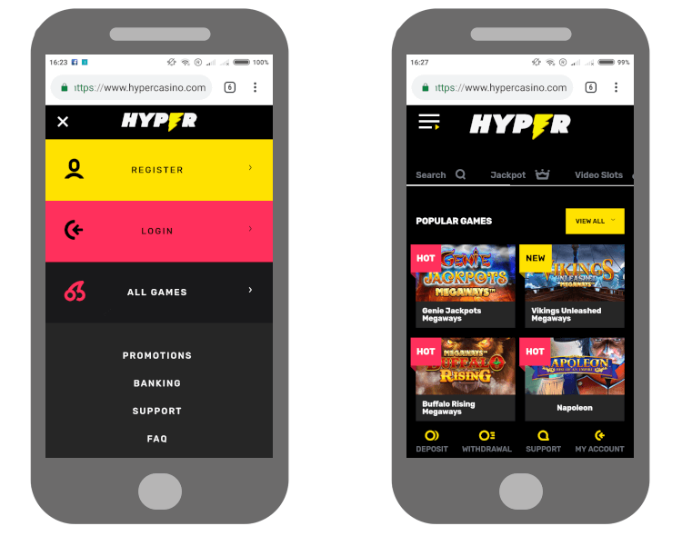 Hyper Casino review on mobile