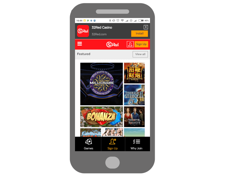 Download the casino app for Android from 32Red