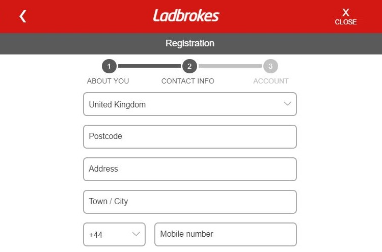 Sign up form for Ladbrokes Casino