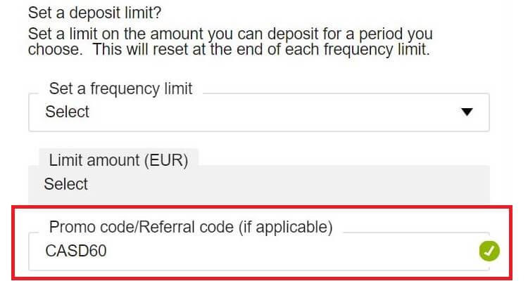 Promo Code example for Betfair Casino