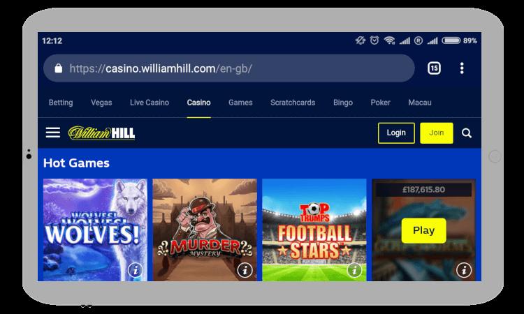 William Hill Casino on Mobile