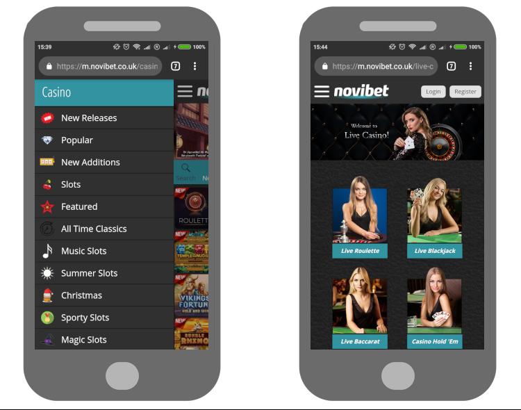 Review of Novibet mobile casino