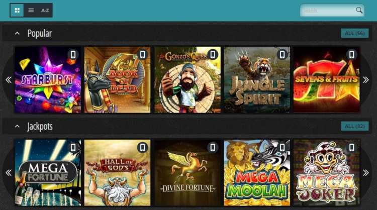 Novibet's slots & casino games library