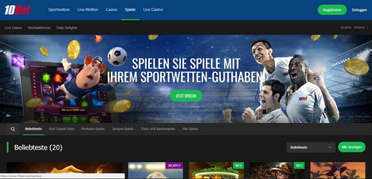 10Bet Casino bietet auch Sportwetten an