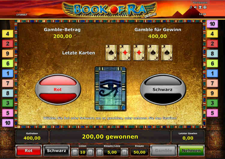 Gamble Funktion bei Book of Ra