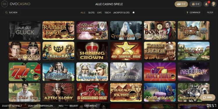 Alle Casino Spiele bei Ovo Casino
