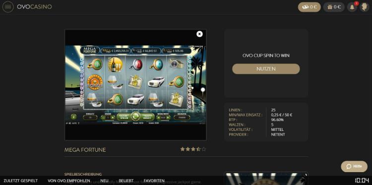 Jackpot Slotmaschinen im Ovo Casino