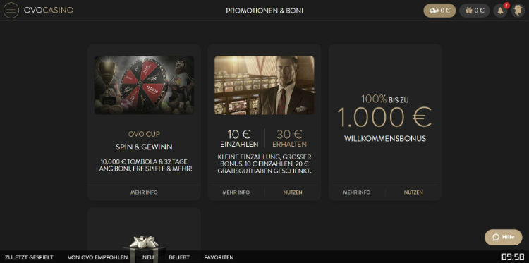 Promoaktionen bei Ovo Casino