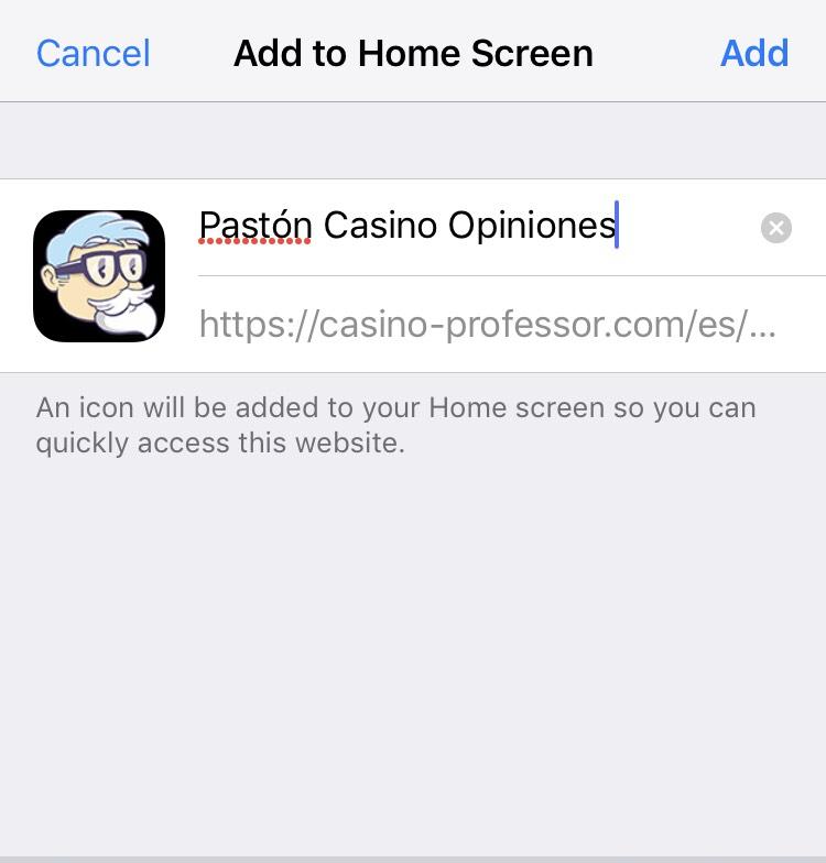 guardar acceso directo de una web de casino movil